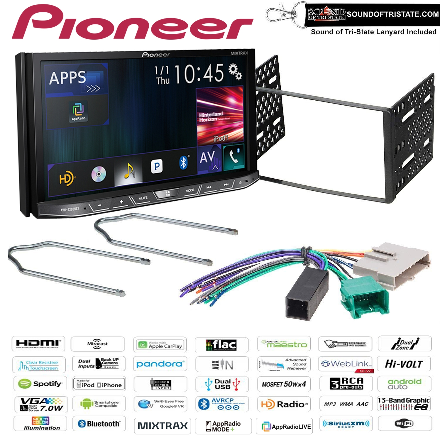 Pioneer AVH-4200NEX DVD Receiver with Installation Kit, Harness and Removal  Tool for 95-97 Ford Explorer, Ranger, and Lincoln Town Car (Factory