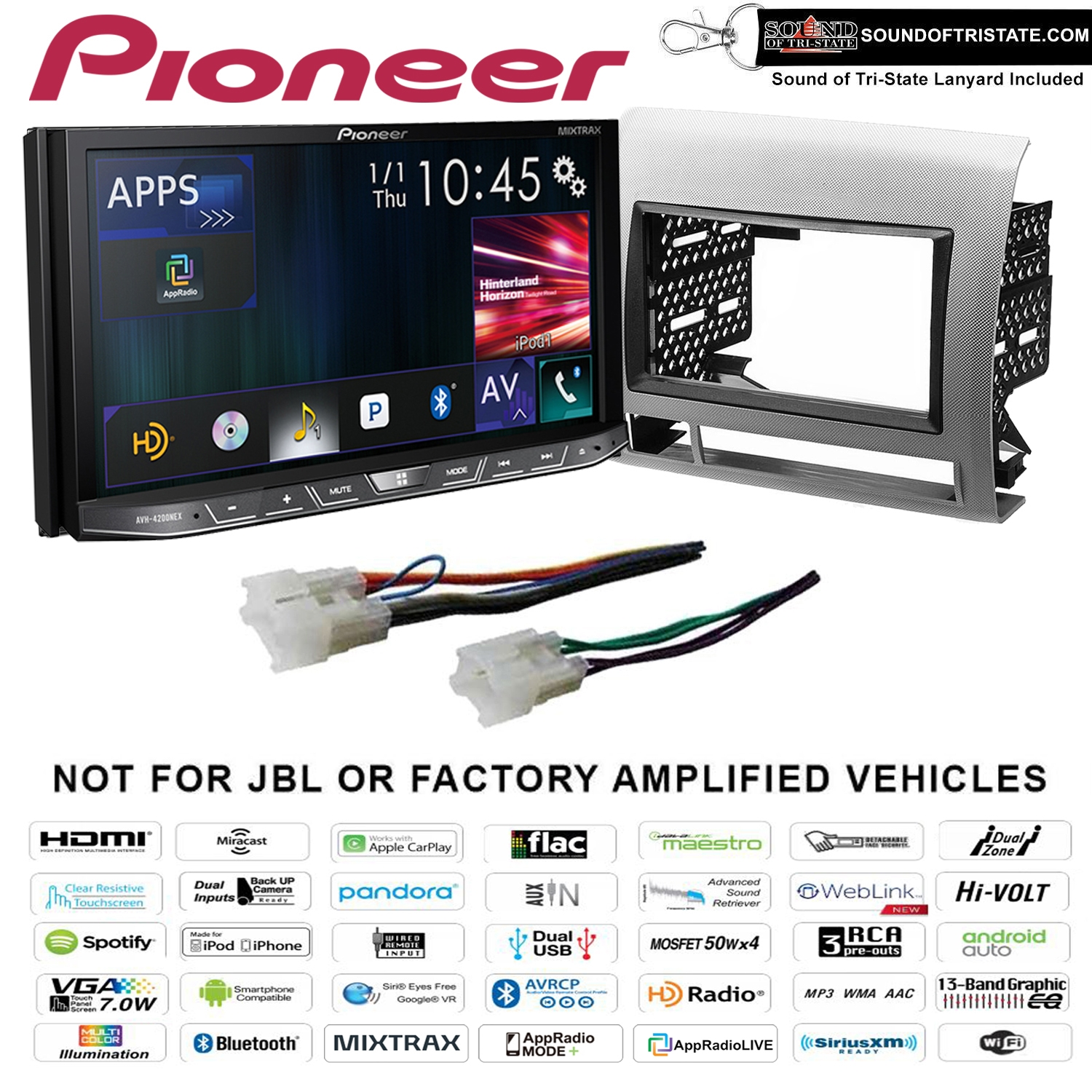 Pioneer AVH-4200NEX DVD Receiver+ install kit 05-11 Non Amplified Toyota  Tacoma (Silver) (Factory Refurbished)