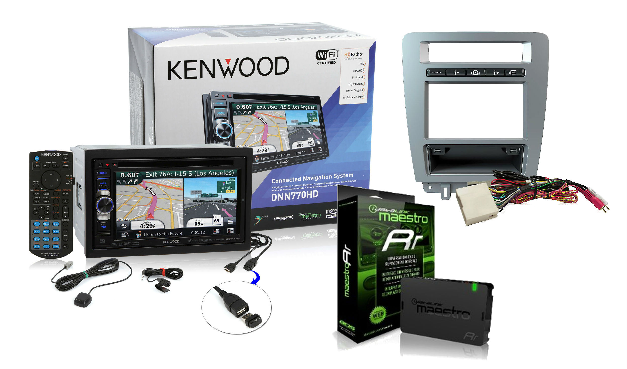 "Kenwood eXcelon DNN770HD In-Dash 6.1"" Touchscreen DVD/MP3/USB Car Stereo  Receiver w/ GPS Navigation, Bluetooth and Wi-Fi Ready with the iDatalink ..."