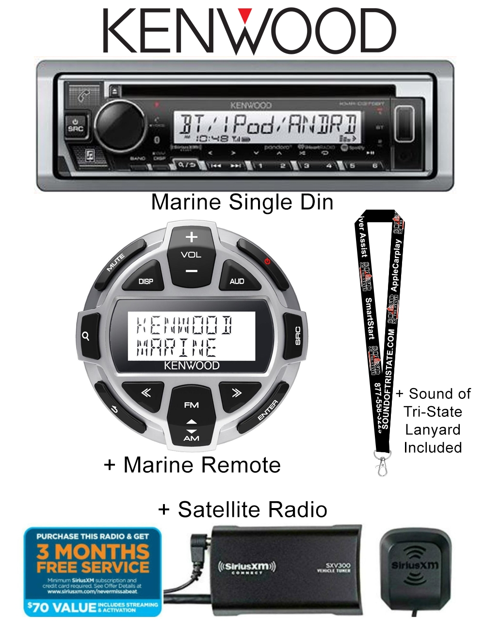 Kenwood Kmr D375bt Marine Cd Receiver With Bluetooth And Usb Input Jl Audio Amp Wiring Kit Marinerated Kca Rc55mr Wired Remote Control Siriusxm Satellite Radio Tuner Antenna A Sound