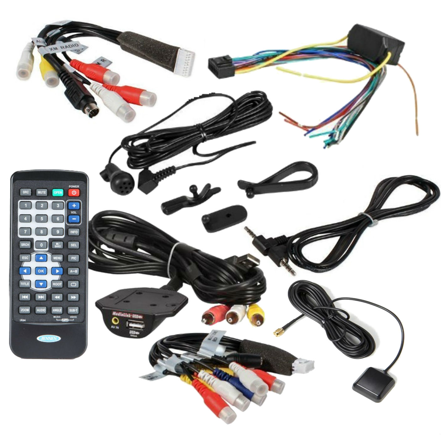 Jensen 334813110 Preamp Audio Video Output Harness with all accessories  remote control and gps antenna for VM9424BT